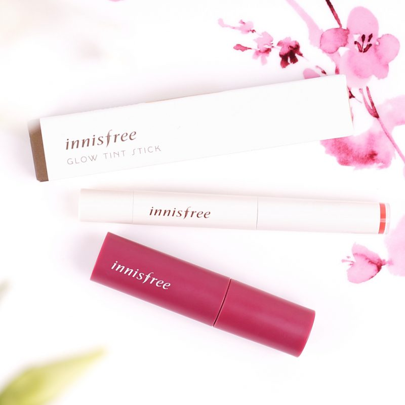 INNISFREE Glow tint stick #03 und INNISFREE Vivid Cotton Ink #09