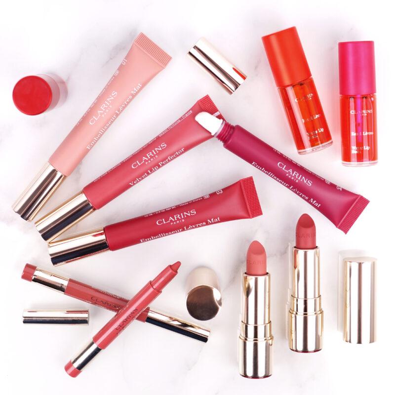 <span style='font-size: large;'>Clarins Matte Lips </span><br />Velvet Lip Perfector, Joli Rouge Crayon & Joli Rouge Velvet